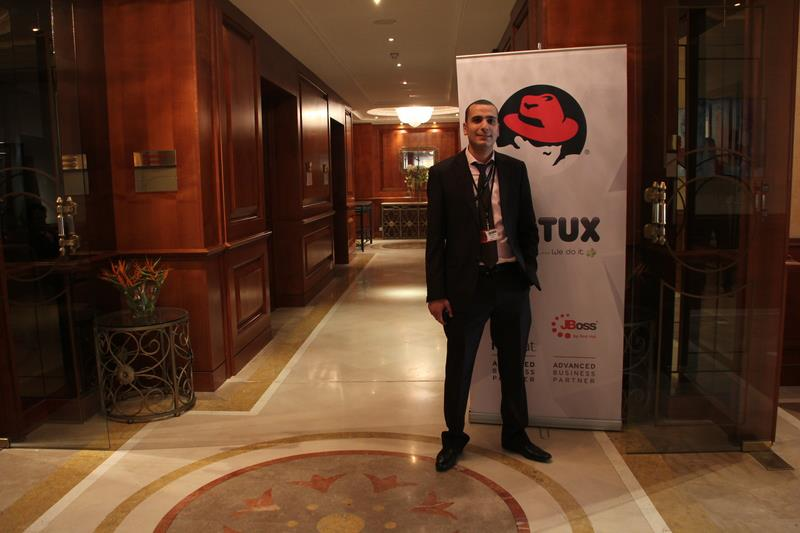 me in front of redhat panel